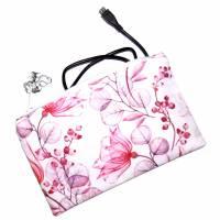 """Täschchen """"Rote Blüten"""" aus Baumwolle mit Reißverschluss - Maskentasche Etui Kosmetiktasche Kulturtasche Bild 5"""