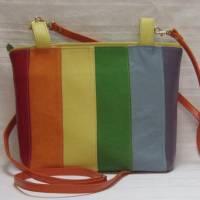 außergewöhnliche Ledertasche, Shopper in Regenbogen-Farben, Schultertasche aus Nappaleder Bild 1