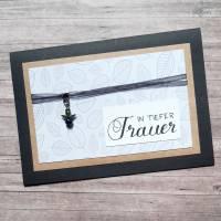 Trauerkarte - In tiefer Trauer - schwarz - mit Engel Bild 1
