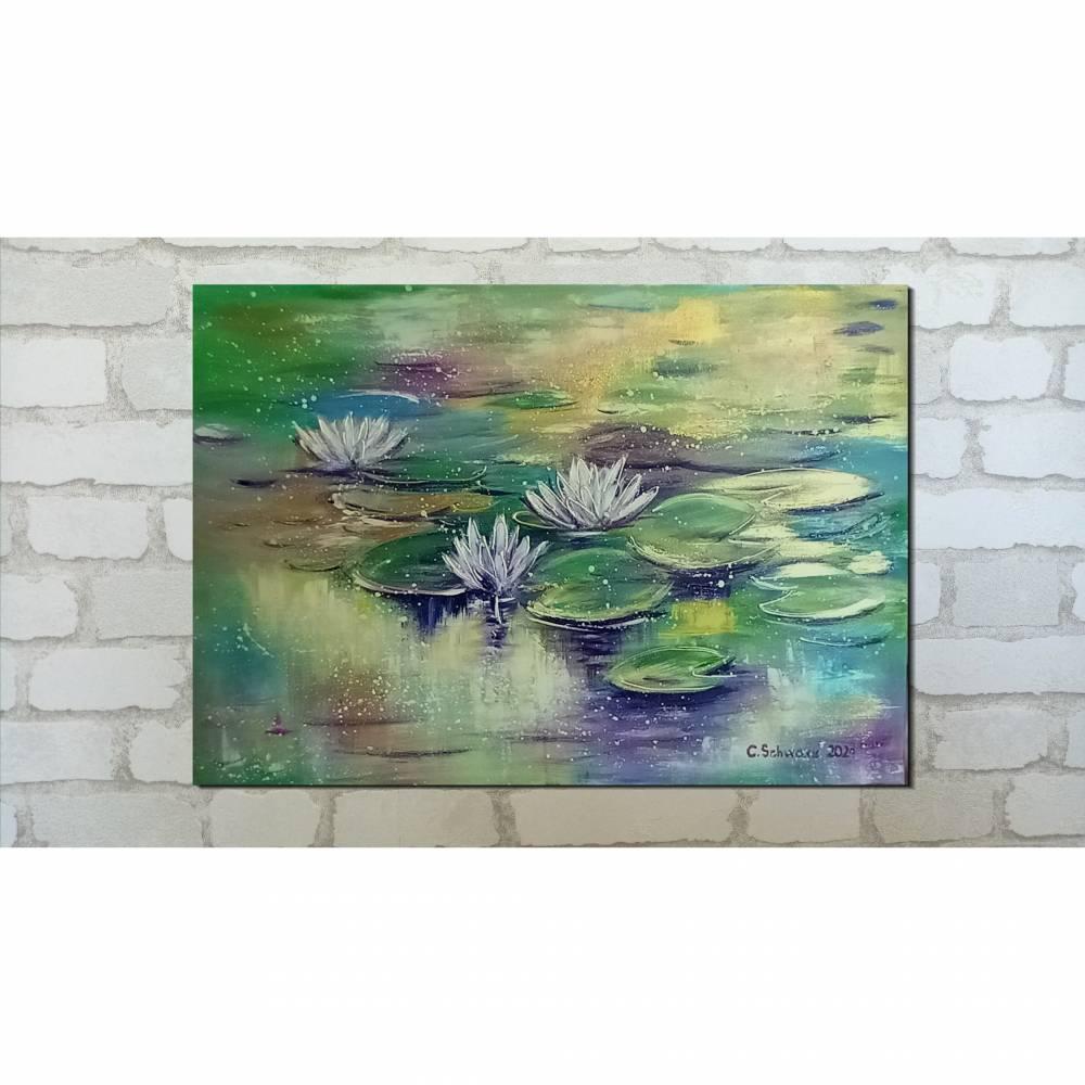 """BESINNLICHKEIT - abstraktes Acrylgemälde aus meiner Serie """"Magic Waterlily Ponds"""" 70cm x 50cm Bild 1"""