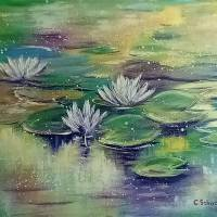 """BESINNLICHKEIT - abstraktes Acrylgemälde aus meiner Serie """"Magic Waterlily Ponds"""" 70cm x 50cm Bild 2"""
