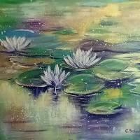 """BESINNLICHKEIT - abstraktes Acrylgemälde aus meiner Serie """"Magic Waterlily Ponds"""" 70cm x 50cm Bild 4"""