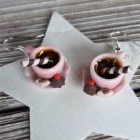 Ohrhänger rosa Kaffeetassen Ohrringe  mit Pralinen witziger Ohrschmuck Bild 2