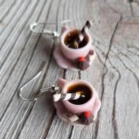 Ohrhänger rosa Kaffeetassen Ohrringe  mit Pralinen witziger Ohrschmuck Bild 4
