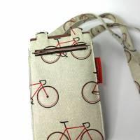 sommerliche Umhängetasche cremefarben mit Fahrrädern und Lederimitat Bild 3