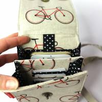 sommerliche Umhängetasche cremefarben mit Fahrrädern und Lederimitat Bild 5
