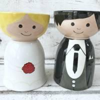 Braut und Bräutigam, Schalen zur Hochzeit, Keramik handbemalt Bild 1