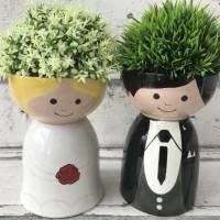 Braut und Bräutigam, Schalen zur Hochzeit, Keramik handbemalt Bild 4