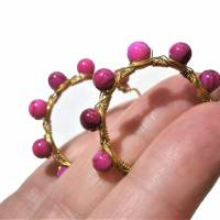 Creolen pink 35 Millimeter groß mit fuchsia Perlmutt schimmernd handgemacht in wirework goldfarben boho chic Bild 1