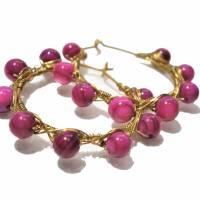 Creolen pink 35 Millimeter groß mit fuchsia Perlmutt schimmernd handgemacht in wirework goldfarben boho chic Bild 2