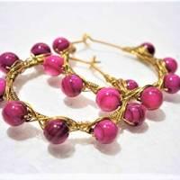 Creolen pink 35 Millimeter groß mit fuchsia Perlmutt schimmernd handgemacht in wirework goldfarben boho chic Bild 4