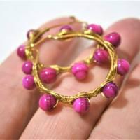 Creolen pink 35 Millimeter groß mit fuchsia Perlmutt schimmernd handgemacht in wirework goldfarben boho chic Bild 6