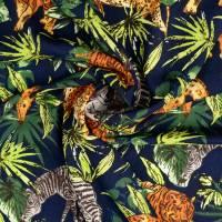 Viskose, leichter Frühlings-/ Sommerstoff Wild Animal dunkelblau - bunt(1m/10,-€) Bild 2