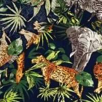 Viskose, leichter Frühlings-/ Sommerstoff Wild Animal dunkelblau - bunt(1m/10,-€) Bild 3