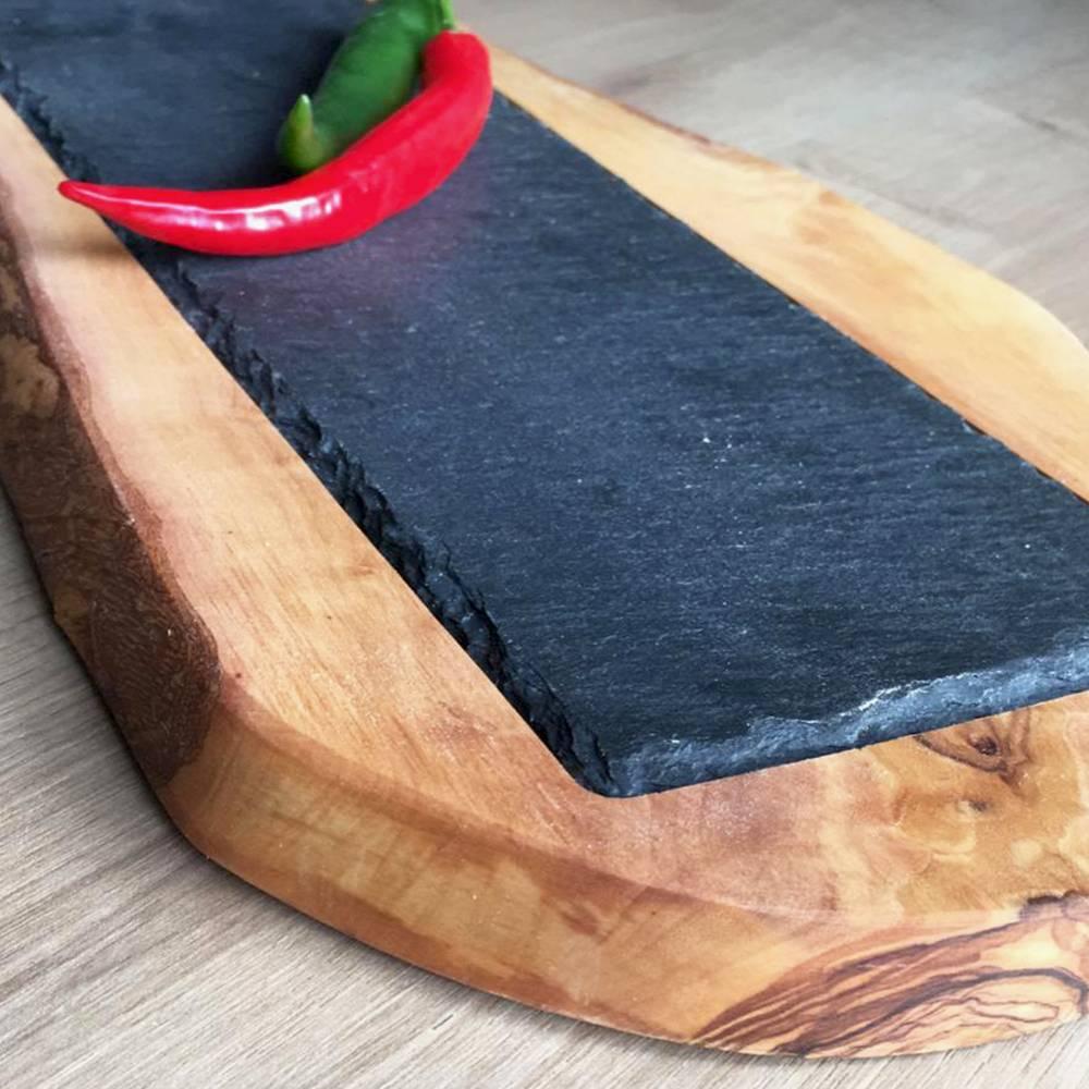 Rustikales Olivenholzbrett (L36) mit eingelassener Schieferplatte  für stilvolles Servieren Bild 1
