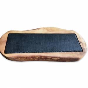 Rustikales Olivenholzbrett (L36) mit eingelassener Schieferplatte  für stilvolles Servieren Bild 4