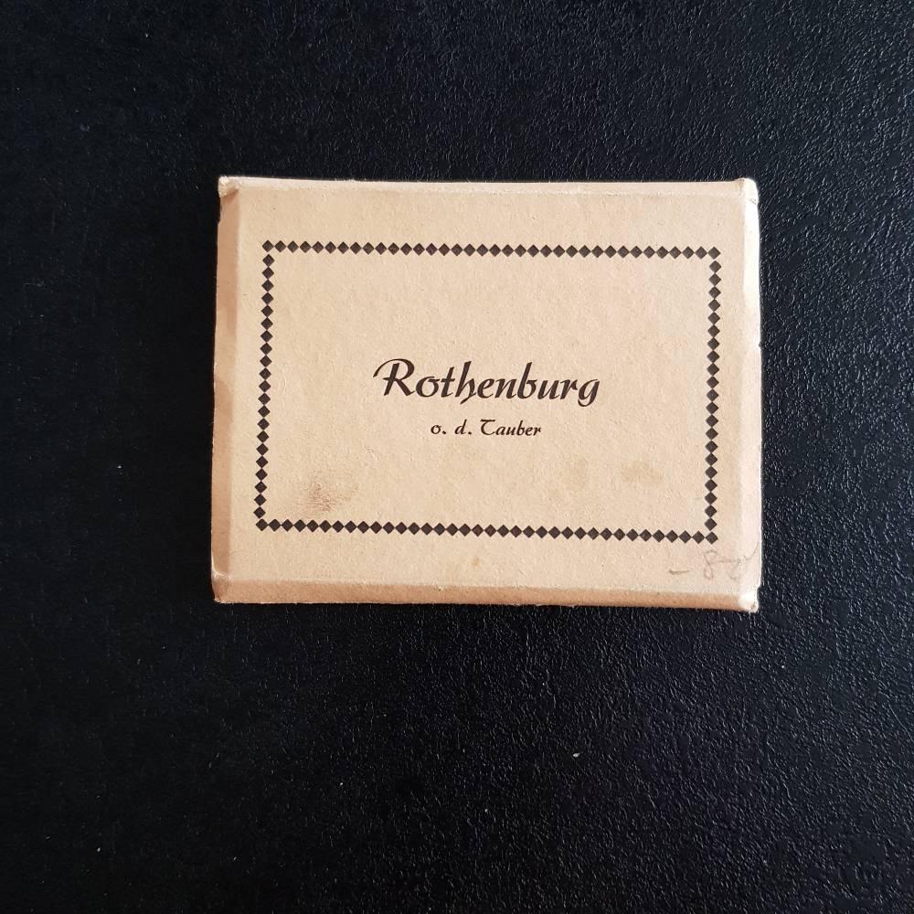 historische Fotografien, vintage, Rothenburg o.T. 10 zusammenhängende kleine Ansichtskarten ca. 1940/50er Jahre Bild 1