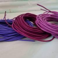 3x Lederband deutsche Produktion 2mm Lederschnur Echtleder Kordel Rindsleder Farbmix rosa pink lila fuchsie Lederkordel Bild 1