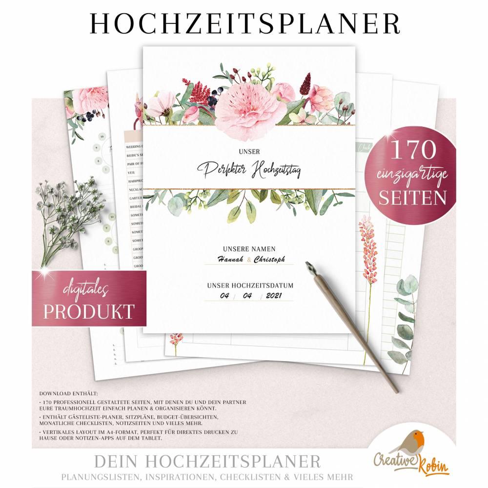 HOCHZEITSPLANER zum Ausdrucken |  Hochzeitsplanung DIY oder Planer für die Trauzeugin | DIN A4 | 170 Seiten Bild 1