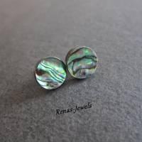 Ohrstecker Abalone Paua Perlmutt Muschel Ohrringe rund Regenbogen Farbe Perlmuttohrstecker Perlmuttohrringe Bild 2