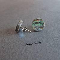 Ohrstecker Abalone Paua Perlmutt Muschel Ohrringe rund Regenbogen Farbe Perlmuttohrstecker Perlmuttohrringe Bild 3