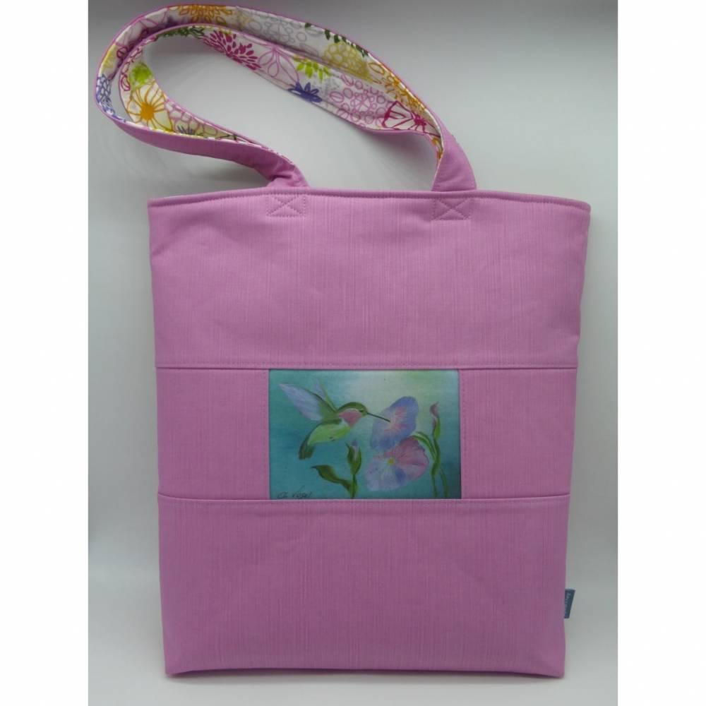 Sommertasche 'Karibik' mit Kolibri der Vogelmalerin, Unikat von hessmade Bild 1