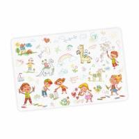 stabile Vinyl Schreibtischunterlage Kinderkritzelei Bastelmatte Kinder Platzset - BPA frei - abwaschbar Bild 1