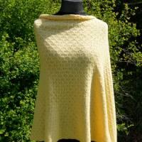 Strickponcho, Überwurf, Schulterwärmer gelb Bild 7