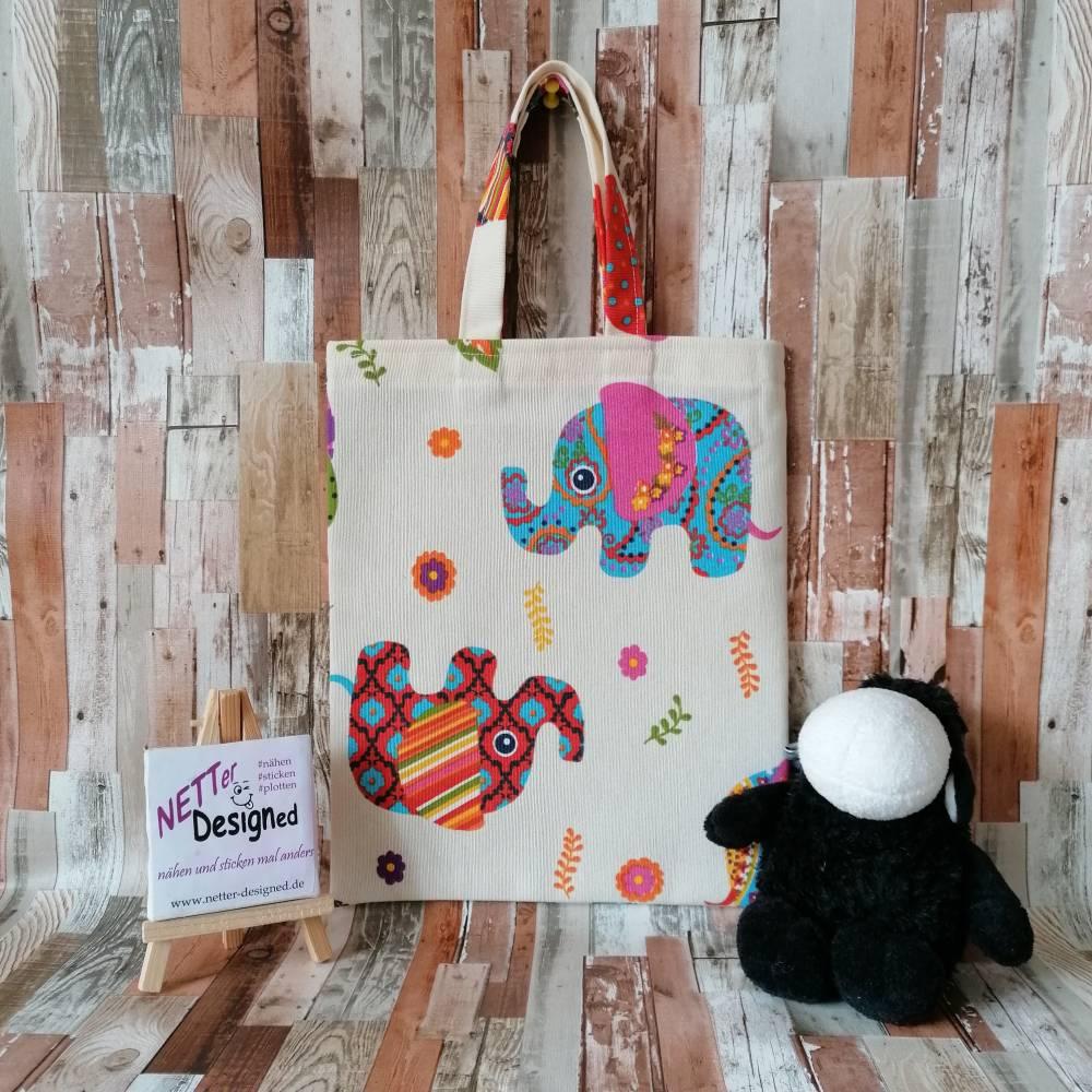 """Stofftasche """"Hapy Elefant"""" kleine Stofftasche, Stoffbeutel, Apothekentasche (ca.27 x 23 cm) Bild 1"""