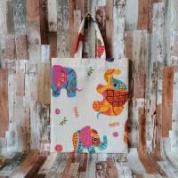 """Stofftasche """"Hapy Elefant"""" kleine Stofftasche, Stoffbeutel, Apothekentasche (ca.27 x 23 cm) Bild 2"""