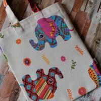 """Stofftasche """"Hapy Elefant"""" kleine Stofftasche, Stoffbeutel, Apothekentasche (ca.27 x 23 cm) Bild 3"""