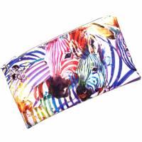 """Täschchen """"Regenbogen Zebras"""" aus Baumwolle mit Reißverschluss - Maskentasche Etui Kosmetiktasche Kulturtasche Bild 2"""