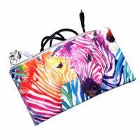 """Täschchen """"Regenbogen Zebras"""" aus Baumwolle mit Reißverschluss - Maskentasche Etui Kosmetiktasche Kulturtasche Bild 3"""
