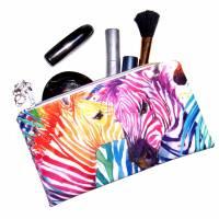 """Täschchen """"Regenbogen Zebras"""" aus Baumwolle mit Reißverschluss - Maskentasche Etui Kosmetiktasche Kulturtasche Bild 5"""