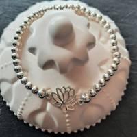 Edles Perlen-Armband mit Zwischenelement Lotusblume, 925 Silber Bild 3