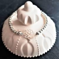 Edles Perlen-Armband mit Zwischenelement Lotusblume, 925 Silber Bild 4