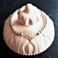 Edles Perlen-Armband mit Zwischenelement Lotusblume, 925 Silber Bild 5