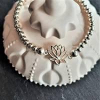 Edles Perlen-Armband mit Zwischenelement Lotusblume, 925 Silber Bild 6