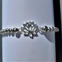Edles Perlen-Armband mit Zwischenelement Lotusblume, 925 Silber Bild 7