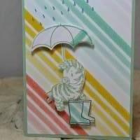 Grußkarte 'Zebra im Regen' Bild 1