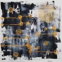 Malerei Abstrakt in Acryl in Schwarzweiß Gold Acrylmalerei Kunst auf Leinwand Unikat Bild 1