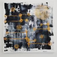 Malerei Abstrakt in Acryl in Schwarzweiß Gold Acrylmalerei Kunst auf Leinwand Unikat Bild 2