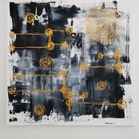 Malerei Abstrakt in Acryl in Schwarzweiß Gold Acrylmalerei Kunst auf Leinwand Unikat Bild 3