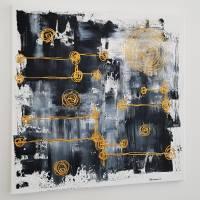 Malerei Abstrakt in Acryl in Schwarzweiß Gold Acrylmalerei Kunst auf Leinwand Unikat Bild 4