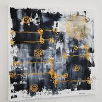 Malerei Abstrakt in Acryl in Schwarzweiß Gold Acrylmalerei Kunst auf Leinwand Unikat Bild 5
