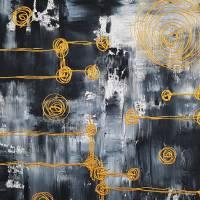 Malerei Abstrakt in Acryl in Schwarzweiß Gold Acrylmalerei Kunst auf Leinwand Unikat Bild 6