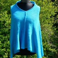 Strickponcho, Überwurf, Schulterwärmer blau Bild 2