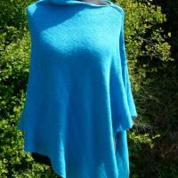 Strickponcho, Überwurf, Schulterwärmer blau Bild 3