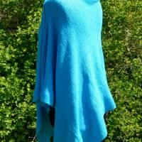 Strickponcho, Überwurf, Schulterwärmer blau Bild 4