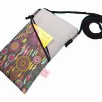 Mini Umhängetasche Handytasche grau handmade aus Baumwollstoff 2 Fächer Farb- und Musterauswahl Bild 2